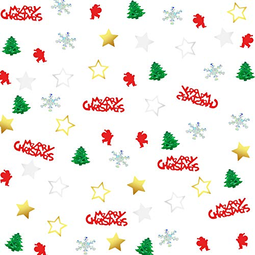 Christmas Confeti Xmas Glitter-Holly Jolly Merry Christmas Sequin/Santa/Star/Snowflake/Pine/Sprinkles Table Decorations for Holiday Party Supplies(1.6 OZ Christmas Star)
