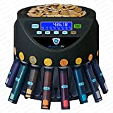 Automatischer Euro Münzzähler & -sortierer Geldzählmaschine SR1200LCD mit Abhülsung Geldzähler Münzzählautomat Securina24 (schwarz LCD - BBB) - 3