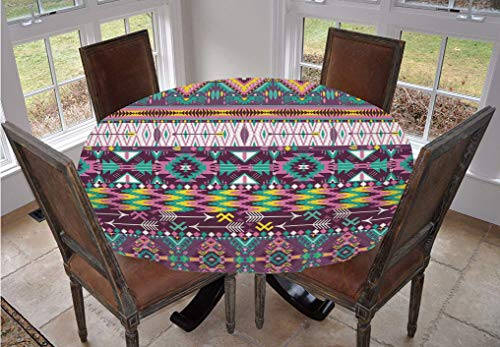 Native American Round Tablecloth,Ethnic Traditional Aztec Pattern Geometric Figures and Arrows Art Polyester Table Cover,36 Inch,for Kitchen Dinning Tabletop Decoration Teal Purple Yellow