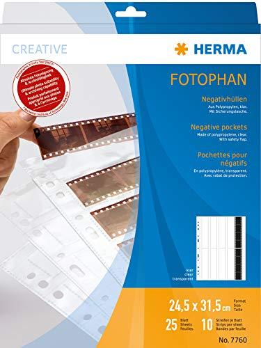HERMA 7760 Fotophan Negativhüllen DIN A4 transparent (10 x 4 Streifen, 25 Hüllen, Folie) für Kleinbild-Negative im Format 35 mm mit Sicherheitslasche & Eurolochung