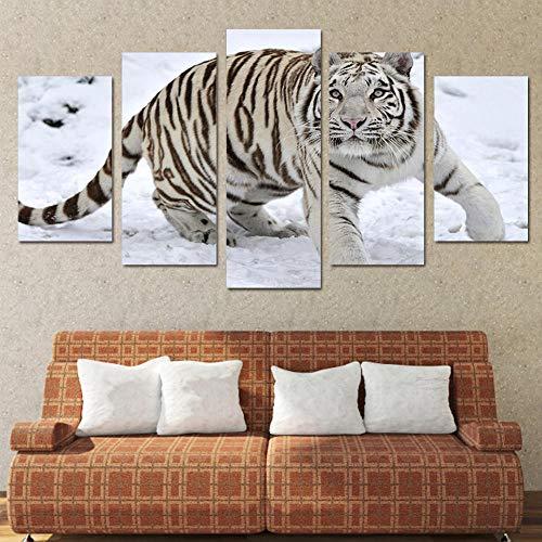 HUA JIE Foto Home Kunst Hd Gedruckt White Tiger Landscape Group Malerei Raumdekor Drucken Poster Bild Leinwand 032