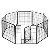 XERATH Dog Fence & Pet Playpen, Heavy Duty Foldable Metal Dog Pen 32'/28' Height with Door for Outdoor Exercise, Indoor Kennels (32' H)
