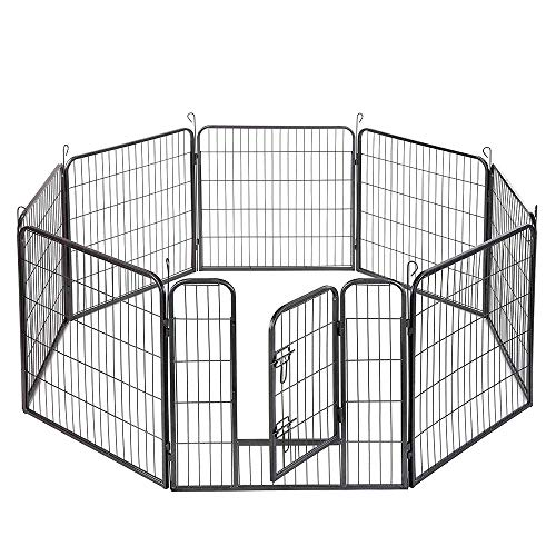 """XERATH Dog Fence & Pet Playpen, Heavy Duty Foldable Metal Dog Pen 32""""/28"""" Height with Door for Outdoor Exercise, Indoor Kennels (32"""" H)"""