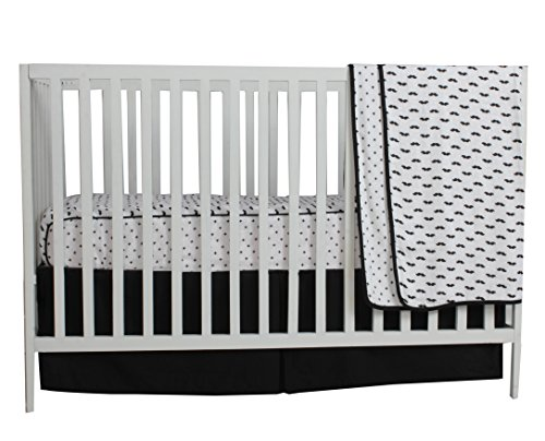 Bacati Love Muslin 3pc Crib Set with 4 Muslin Layers Lux Dream Blanket (Mustache/Plus/Cross, Black)