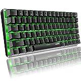 Hoopond Tastiera meccanica, AK33, con retroilluminazione a LED, verde, tastiera meccanica da gioco, 82 tasti, tastiera meccanica compatta da gioco con tasti anti-ghosting per giocatori, dattilografi