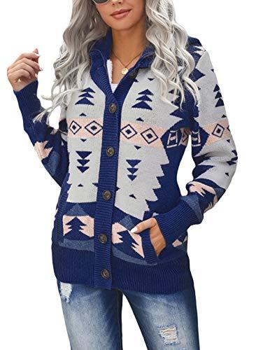 FOBEXISS Chaqueta de lana con capucha para mujer, de manga larga, con estampado étnico, de forro polar, con botones, para exteriores