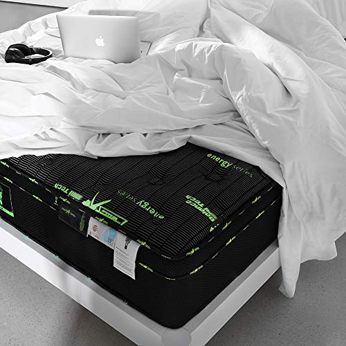 Small Single Mattress with the Gel Memory Foam Covered with Knitted Fabrics and Supported by Indepentdent Pocket Springs, 9-Zone Orthopaedic Breathable Mattress - Black