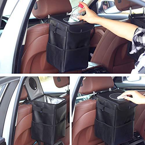 Auto Mülleimer,Wasserdicht Abfalltaschemit Deckel, tragbare Auto Zubehör Mülleimer für Unterwegs