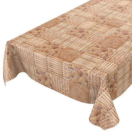 ANRO Wachstuch Tischdecke abwaschbar Wachstuchtischdecke Wachstischdecke Bambuk Bambus Geflochen Holz 180x140cm
