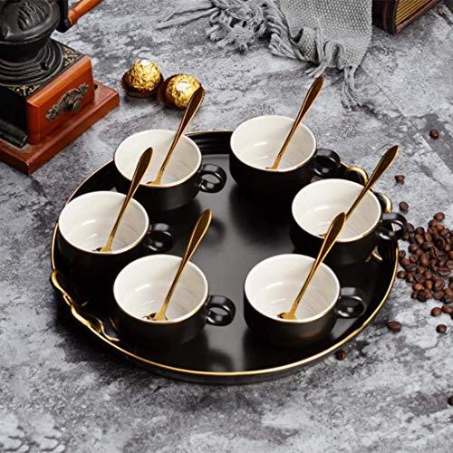 Nuokix Café Simple Sistema de la Taza Tetera El té de la Tarde de Oro de cerámica Flor de Cristal climatizada Tetera con Bandeja de Vela, la Bandeja con 6 Tazas