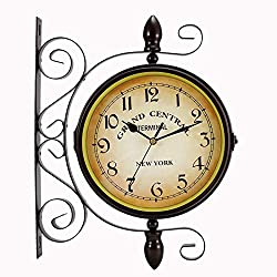 Dyna-Living Vintage Double Sided Wall Clock Wrought Iron Retro Wall Clock 360 Degree Rotate Vintage Industrial Classic Clocks for Indoor Outdoor Home Garden