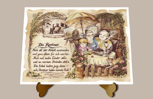 Geschenk Rentner Pensionär Gedicht Zeichnung Color 20 x 15 cm mit Aufsteller