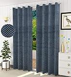 Ami creation Velvet Embossed Room Darkening Blackout Curtains for Living Room Pack of