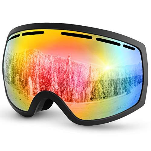 Baban Maschera da Sci OTG Uomo,Donna,Teenager, Maschera Sci Anti Nebbia 99% e Protezione UV400 Visione sferica,Adatto a Snowboard,Motocross e Altri Sport Invernali