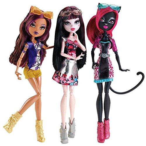 Monster High 3-er Pack Buh York Clawdeen Wolf , Draculaura , Catty Noir