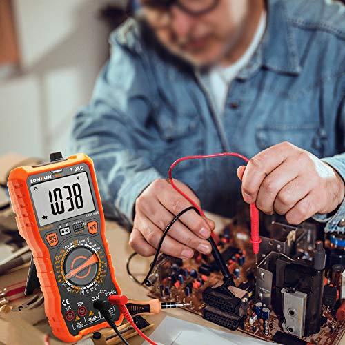 Multímetro Digital Profesional, LOMVUM T28C Manual Rango Polimetro Digital 6000 Cuentas y 2000uF Tester Digital