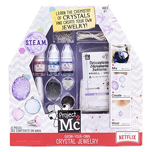 Project Mc2 Grow Your Own Crystal Jewelry Stem Science Kit by Horizon Group USA, Use Chemistry to Make Your Own Crystal Rings & Necklaces, Pink Teal & Purple