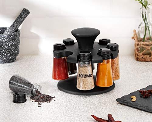 Amazon Brand - Solimo Upright Revolving Plastic Spice Rack, 8 Pieces