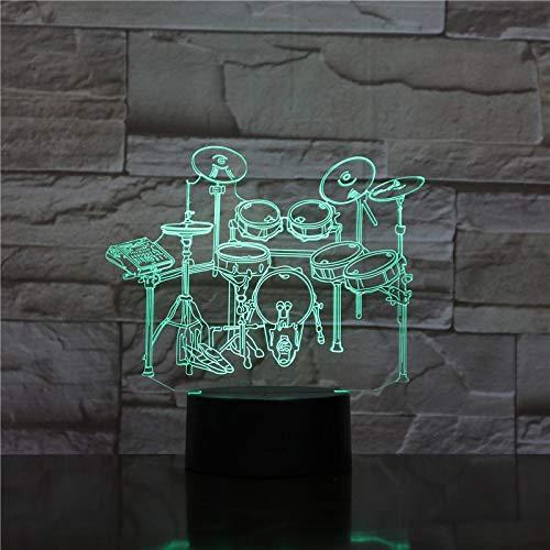 AOXULIU Luz de noche Lámpara Electrónica De Ilusión 3D, Equipo De Música, Tambor De Bajo, Luz De Noche Led, Lámpara De Mesa Remota Usb, Decoración, Regalo Para Niños Y Amigos Base Blanca