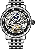 Stührling Original Black and Silver Mens Skeleton Watch, Analog Skeleton Watch Dial, Dual Time, AM/PM Sun Moon, Stainless Steel Bracelet, 3922 Watches for Men Collection