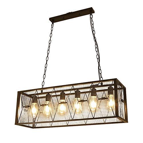 Suspension Design Vintage Industriel Lampe suspendue Cage Fer Rectangulaire Loft Lustres Noir Lampe Salle À Manger Réglable En Hauteur Salon Rétro Cuisine Suspension Lumière Antiqu