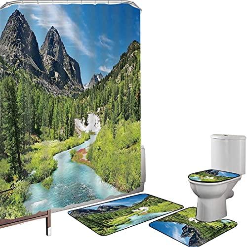 Juego de cortinas baño Accesorios baño alfombras Bosque de pinos de Altai...