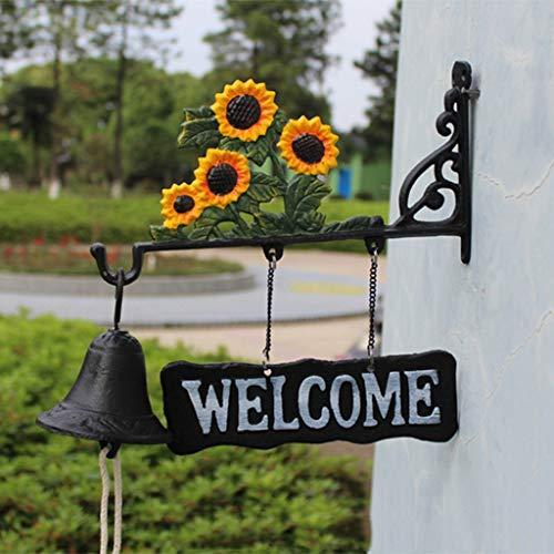 SXZHSM zonnebloem, retro-welkom aan beide kanten, Welkome klok van smeedijzer, 31 x 9,7 x 27 cm, bel