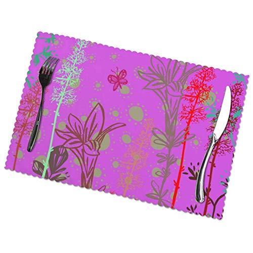 ZCHW Juego de 4 manteles Individuales Pink Soul Butterfly, Resistentes al Calor, Lavables, manteles Individuales, Alfombrillas de poliéster de 30X45 CM
