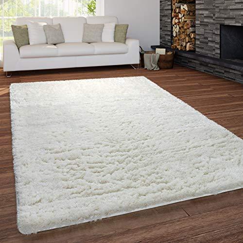 Paco Home Teppich Wohnzimmer Shaggy Hochflor Waschbar Einfarbiges Design, Grösse:140x200 cm, Farbe:Creme