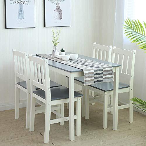 Essgruppe mit 1 Tisch 4 Stühle, Holz Tischgruppe Esstischset Sitzgruppe Esstischgruppe Esszimmergarnitur für 4 Personen, Esszimmergruppe für Küche Wohnzimmer GRAU 6116-D02