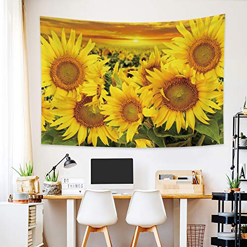 """Hidecor Blooming Sunflower Tapestry Beautiful Gold Flower Floral Field Morning Nature Scenery Polyester Wall Hanging Decoration for Living Room Bedroom Dorm Headboard Home Decor 39.4""""x27.6"""""""