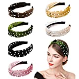 InnoGear Headbands for Women, 6 Pack Velvet Wide Headband Knot Turban Headbands Vintage Hairband with Faux Pearl Elastic Hair Hoops Fashionable Hair Accessories for Women and Girls, Light