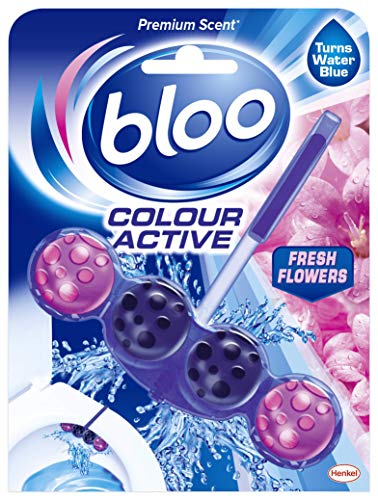 Bloo Colour Active Toilet Rim Block Fresh Flowers with Anti-Limescale, Cleaning Foam, Dirt Protection and Extra Freshness - 50g