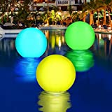 2 Pieces Glow Beach Balls LED Pool Beach Waterproof Balls for Beach Pool Home Garden Decoration, 16 Inches