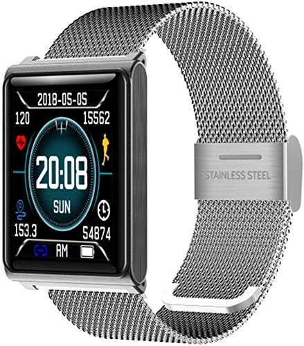 XMZWD Sport-intelligente Uhr N98, wasserdichte Geschäftsuhr des Bluetooth-Herzfrequenz Schritte Schlafes IP68, Für Intelligente Uhr Android-IOS,Silver Steel