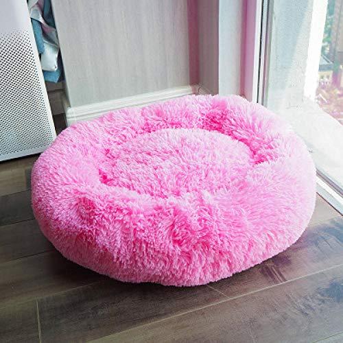 Cama para Perros de Felpa Suave y cálida Cama para Perros Cama para Dormir mullida sofá para Mascotas Perros pequeños y medianos de Varios tamaños -Rosa Claro_80cm de diámetro