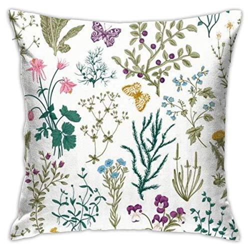 DJNGN Pillowcase Funda de Almohada botánica de Flores Silvestres de Hierbas Florales, impresión a Doble Cara, Funda de Almohada con Cremallera Oculta, Funda de Almohada con Estampado Hermoso de 18 x