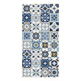 DON LETRA Alfombra Vinílica Baldosa, 80 x 40 x 0.2 cm, Color Azul, Vinilo, ALV-075