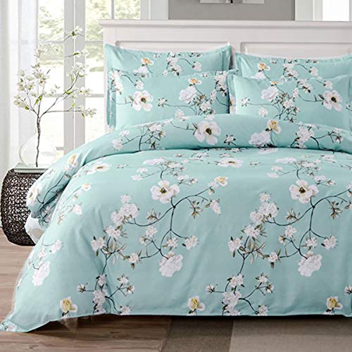 Uozzi Bedding 3 Piece Floral Duvet Cover Set King, Reversible Printing with Brushed Microfiber,Flower Style Lightweight Soft, Comfortable, Durable (Light Blue,Floral Style, Queen)