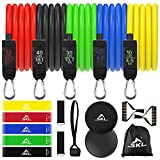 SKL Resistance Bands Set 18pcs Exercise Workout Bands with Handles, Ankle Straps, Door Anchor, 5 Resistance Loop Bands, Core Sliders for Resistance Training Physical Therapy Home Workouts Yoga Pilates