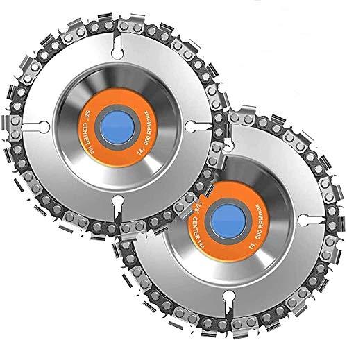 Disco de cadena abrasiva Hojas de sierra circular Disco para tallar madera (2 piezas), discos de corte de 100 mm x 16 mm, discos de sierra de cadena de 22 dientes, disco ranurado para dar forma cortar
