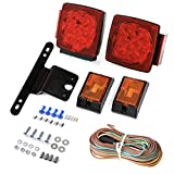 CZC AUTO 12V Submersible LED Trailer Tail Light Kit for Under 80 Inch...