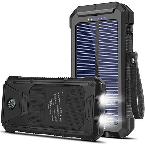 YELOMIN Solar Powerbank, 30000mAh Solar Ladegerät Externer Akku mit 2 Eingänge 2 Ausgänge LED-Taschenlampe, wasserdichte Powerbank Solar für Outdoor Aktivitäten