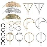 AirSMall Juego de 18 Pinzas para Cabello de Metal, Pinzas Geométricas Huecas para Cabello, Horquilla de Estilo Simple, con Forma de Luna/pluma/triangulares/redondas/hoja para niñas y mujeres