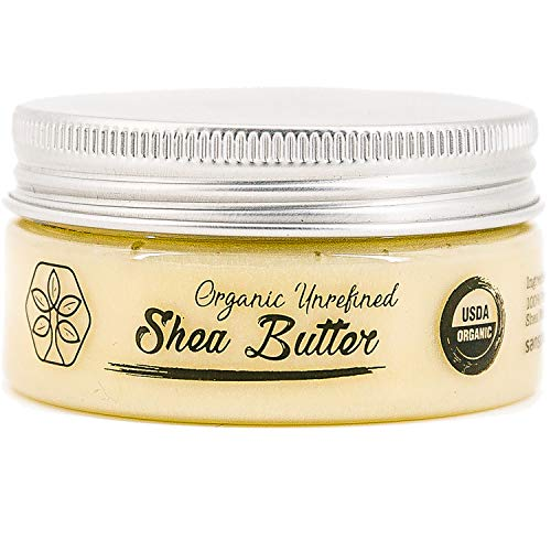 USDA Certified Organic Shea Butter: Highest Quality Unrefined Rare Nilotica, Certified Fair-Trade - Nourishes, Replenishes and Protects Skin and Hair - Travel Size - 2.8oz