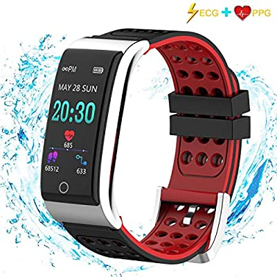 Fitness Tracker, Armo ECG&PPG Heart Rate Monitor Watch Color Screen, IP67 Waterproof, Step Counter, Calorie Counter, Sleep Monitor, Pedometer, Smart Watch Kids Women Men