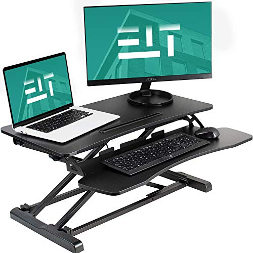 EleTab Standing Desk Converter Sit Stand Desk Riser Stand up Desk Tabletop Workstation fits Dual Monitor 32 inches Black