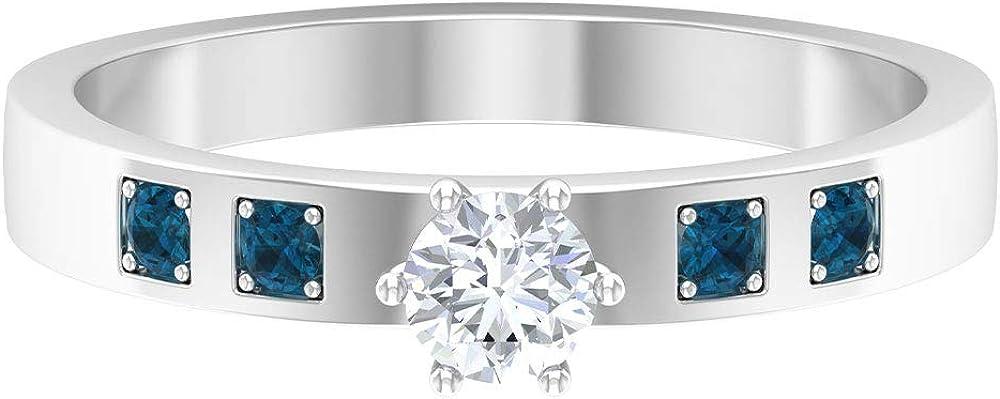 Solitaire Engagement Ring, Blue Topaz London Ring, HI-SI 1/4 CT Round Diamond Ring, Gemstone Sidestone Ring, Bridal Wedding Ring, Anniversary Ring, 14K Gold