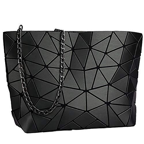 whatUneed Bolso geométrico del enrejado de la moda de las mujeres, la bolsa de mensajero casual cruzada del cuero de la PU para las muchachas (Negro)