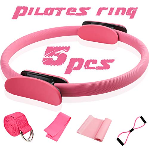 14 Pilates Ring Kits 5 Pcs Fitness Magic Circle Yoga Pilates Equipment for Home Workouts Include Stretching Strap,Loop Band,Extension strap And Resistance Band for Fitness kit
